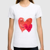 Watercolor couple of hearts Womens Fitted Tee Ash Grey SMALL