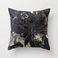 Goth Peony Throw Pillow