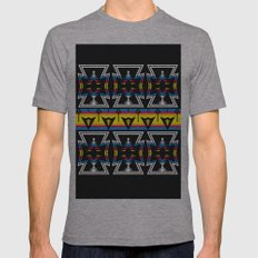 Large Native America inspired blanket print Mens Fitted Tee Athletic Grey SMALL