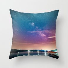 Milky Way Over Water Throw Pillow