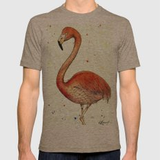 Colourful Flamingo  Mens Fitted Tee Tri-Coffee SMALL