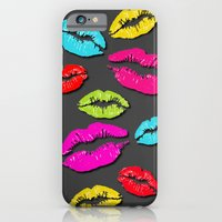 iPhone & iPod Case featuring Colored Kisses Grey by Karma Cases