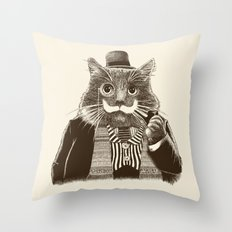 Mustache Cat Throw Pillow