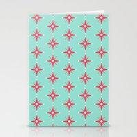 Retro Red Stars Stationery Cards