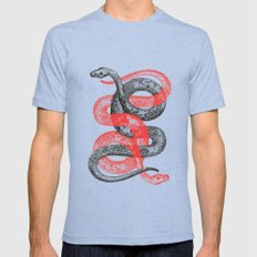 Twin Snakes Mens Fitted Tee Tri-Blue SMALL