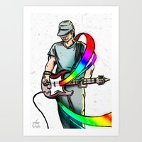 Guitarist (Colour My World) Art Print