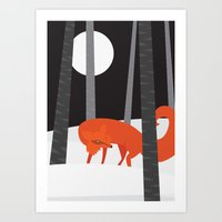 Art Print featuring Winter Fox Vertical by Volkan Dalyan