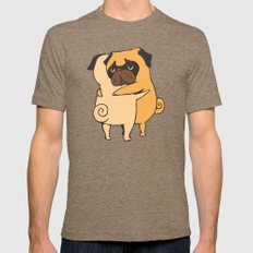 Pug Hugs Mens Fitted Tee Tri-Coffee SMALL