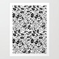 b&w flora pattern Art Print