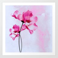 Two Pinks Flowers On Wat… Art Print