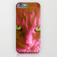 iPhone & iPod Case featuring Green Eyed Cat by Cat Kitsch