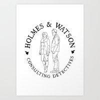 Holmes And Watson Stamp Art Print