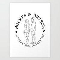 Holmes And Watson Stamp Art Print