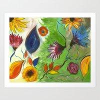 Flower Swirls Art Print