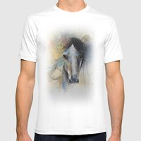 Horse Watercolor Painting Mens Fitted Tee White SMALL