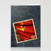 Sticker of Soviet Union (1922-1991) flag Stationery Cards