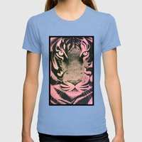 Be A Tiger (Pink) Womens Fitted Tee Tri-Blue SMALL