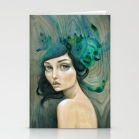 mermaid Stationery Cards featuring Mermaid by Mandy Tsung
