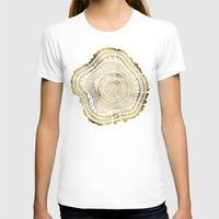 white T-shirts featuring Gold Tree Rings by Cat Coquillette