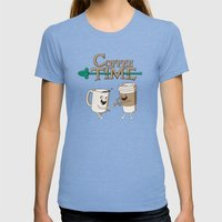 Coffee Time! Womens Fitted Tee Tri-Blue SMALL