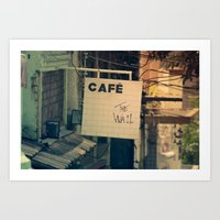 Cafe The Wall Art Print