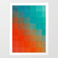 Beach Pixel Surface Art Print