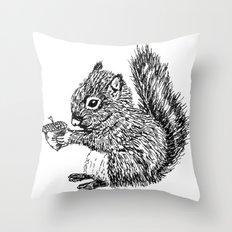 Squirrel in black & white Throw Pillow