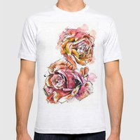Rose Blooms Mens Fitted Tee Ash Grey SMALL