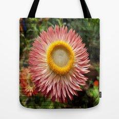 Pink flower on wood texture Tote Bag
