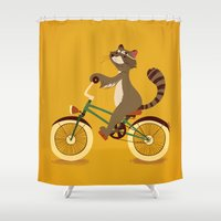 Raccoon on a bicycle Shower Curtain
