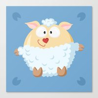 Sheep from the circle series Canvas Print