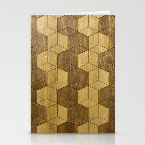 Wooden Zig Zag Optical Cubes Stationery Card