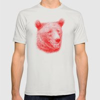Brown Bear Is Red And Pi… Mens Fitted Tee Silver SMALL