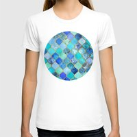retro T-shirts featuring Cobalt Blue, Aqua & Gold Decorative Moroccan Tile Pattern by micklyn