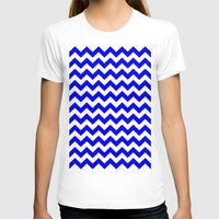 chevron T-shirts featuring Chevron (Blue/White) by 10813 Apparel