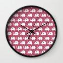 Elephants in love (Plum) Wall Clock