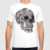 Ornate Skull Mens Fitted Tee White SMALL