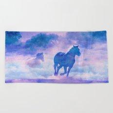 Horses run Beach Towel