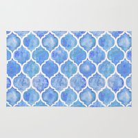 Cornflower Blue Moroccan Hand Painted Watercolor Pattern Rug