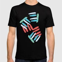 Coral and Turquoise Mens Fitted Tee Black SMALL