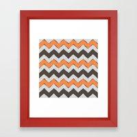 Zigzag - Grey & Orange Framed Art Print