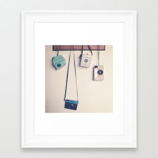 Hanging Retro Cameras  Framed Art Print