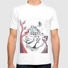 Round Tree House White SMALL Mens Fitted Tee