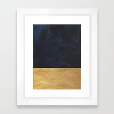 Color Blocked Gold & Cobalt Framed Art Print