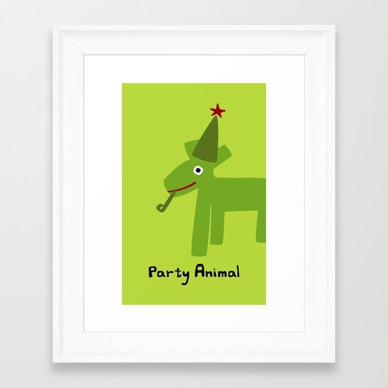 Party Animal-Green Framed Art Print