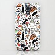 Kawaii Ghibli Doodle Galaxy S4 Slim Case