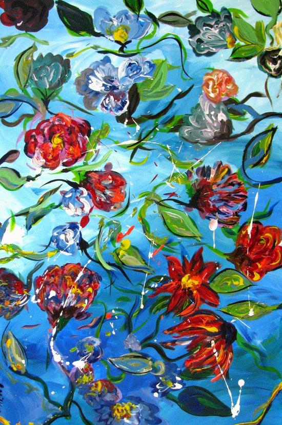 Blue Flower Swirl Art Print