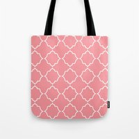 Moroccan White And Coral Tote Bag