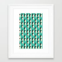 turquoise petal lines  Framed Art Print