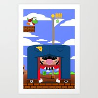 mario Art Prints featuring Mario by Ryan Miller